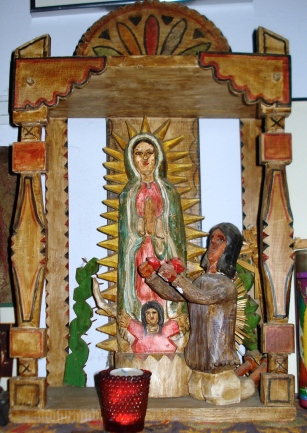 """Altar of our Lady of Guadalupe,"" with stone ground paint, Max Roybal (Albuquerque, NM), 1976"