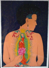 """Woman with La Virgen de Guadalupe Tattoo,"" Esther Hernandez (San Francisco)"